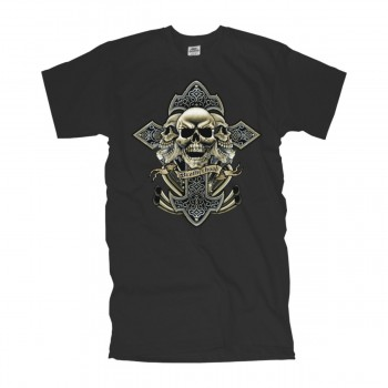 T-Shirt three skulls brotherhood, Totenkopf V-twin und Kreuz shirt S-6XL (ADS0013)
