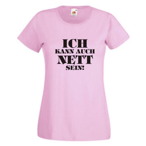 FUN KULT SHIRT S-XXL Ich kann auch nett sein Damen T-Shirt